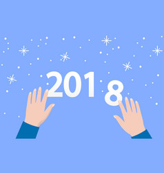 2018 numbers on blue background with snowflakes vector