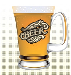 Poster with a glass of beer and a calligraphic ins vector