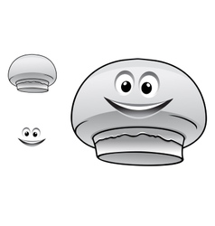 Cartoon happy cute champignon mushroom character vector image