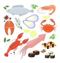 Selection of seafood shrimp and sushi icons vector