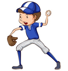 A simple drawing of a baseball player in blue vector