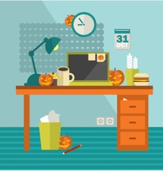 Work place on holiday halloween vector