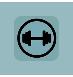 Pale blue barbell sign vector