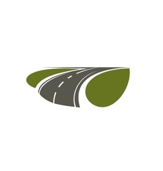 Highway road running through green fields vector