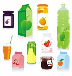 Fruit drink containers vector