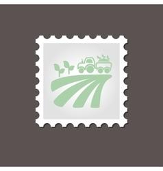 Tractor on field harvest seedling stamp outline vector