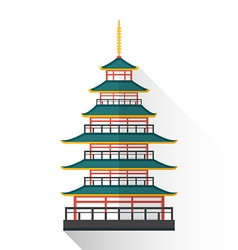 flat japan multistory pagoda icon vector image