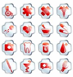 White glossy medical buttons vector