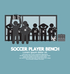 Football or soccer player bench black symbol vector