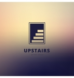 Negative space stairs logo brand sign on vector