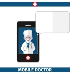 Mobile doctor with empty dialog cloud vector
