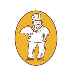 Chef baker cook with platter vector