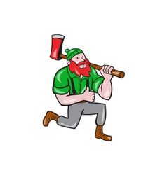 Paul bunyan lumberjack axe kneeling cartoon vector