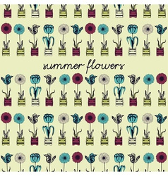 Retro summer flowers pattern vector