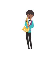 african american jazz musician wearing retro vector image