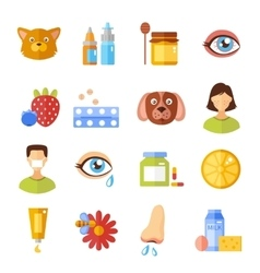Allergy Types And Causes Icons vector image vector image