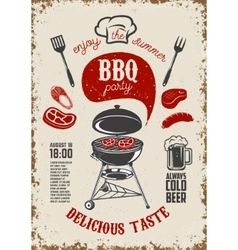 Bbq party vintage flyer on grunge background vector