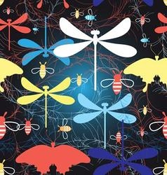 Beautiful graphic pattern different insects vector