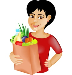 Black haired girl with the products vector image vector image