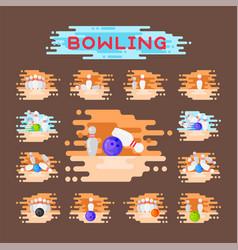 bowling emblem design template badge item vector image