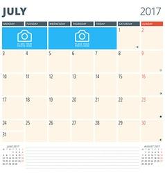 Calendar planner for 2017 year design template vector