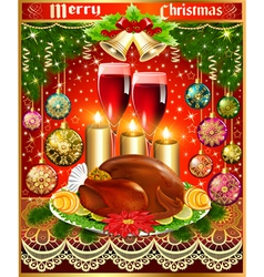 card for christmas turkey wine candles and Christm vector image
