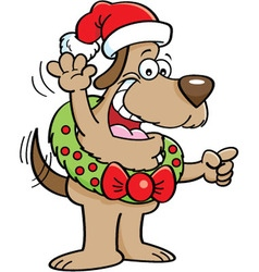 Cartoon Dog Wearing a Christmas Wreath vector image