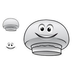 Cartoon happy cute champignon mushroom character vector