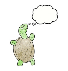 Cartoon happy turtle with thought bubble vector