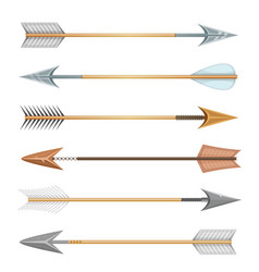 Cartoon wood metal and stone arrows for bow vector