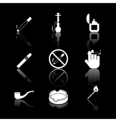 cigarette hookah and cigar icons vector image