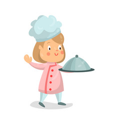 Cute cartoon little girl chef character holding vector