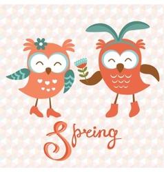 Cute owls couple vector