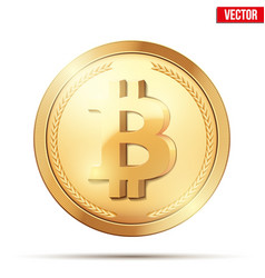 Gold coin with bitcoin sign vector