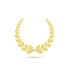 Golden laurel wreath vector image vector image