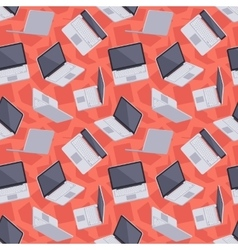 Gray laptop seamless pattern vector image
