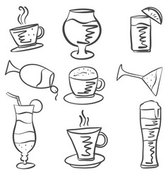Hand draw drink set doodles vector