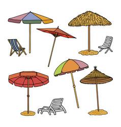 hand drawn of beach umbrellas vector image