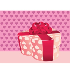 Heart shaped pink gift box2 vector image vector image