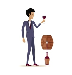 Man with wine in alcohol department store vector