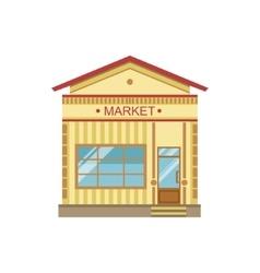 Market commercial building facade design vector