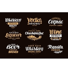 Menu bar icons set Labels of alcoholic drinks vector image