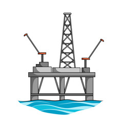 oil rig on the wateroil single icon in cartoon vector image