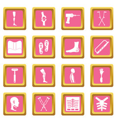 Orthopedics prosthetics icons pink vector