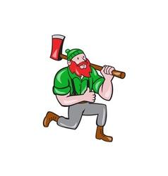 Paul Bunyan LumberJack Axe Kneeling Cartoon vector image