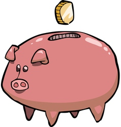 pig piggy bank and coin vector image vector image