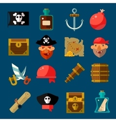 Pirate game flat set vector