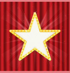 retro gold star vintage frame with lights vector image vector image