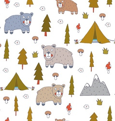 Seamless pattern with bears vector image
