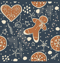 Seamless winter pattern with hand drawn vector